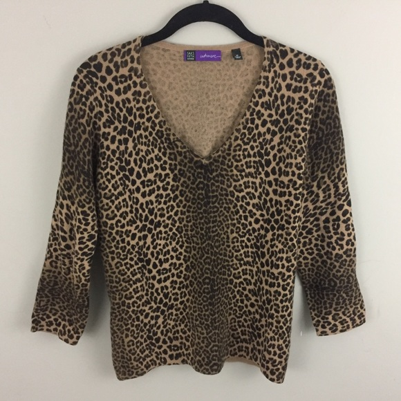 Leopard Print Cashmere Sweater Saks Fifth Avenue
